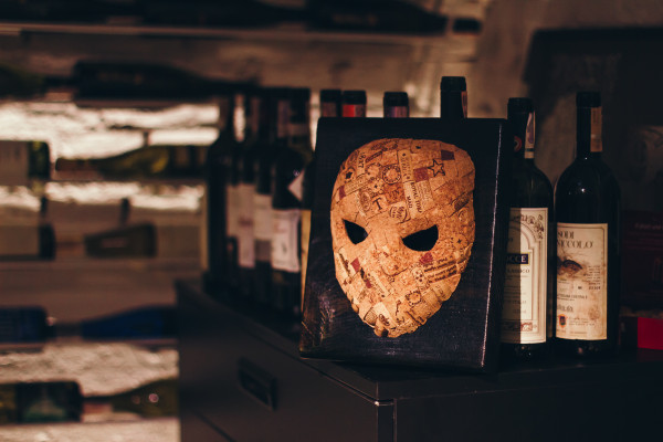 Mask from Wine Man's cork, handmade, for the design of any interior