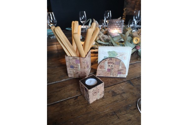 Cork and wood decorative glass for bread sticks \ Handmade designer wine decor.