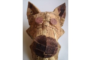 Polygonal geometric fox head made of cork mosaic