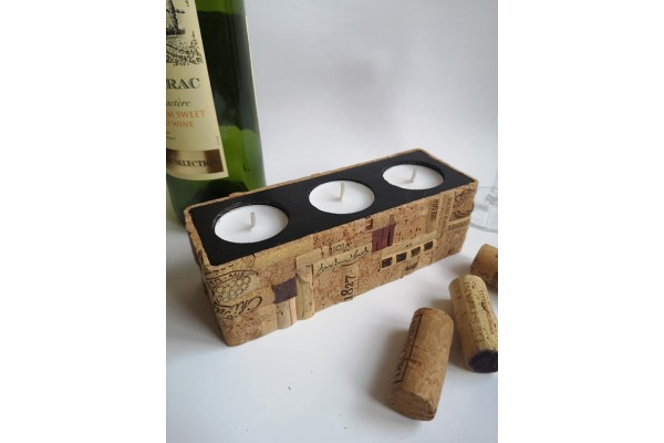 Exclusive candle holder with a cache of wood and wine cork \ Handmade designer cork decor, for home, cottage. bar or restaurant.