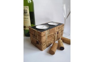 Handmade candlestick with a hiding place made of wood and wine cork (cork mosaic).