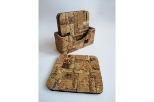 Set of square coasters made of wood and handmade cork mosaic.