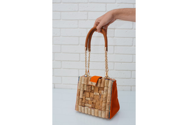 Women bag made of cork with leather handles.