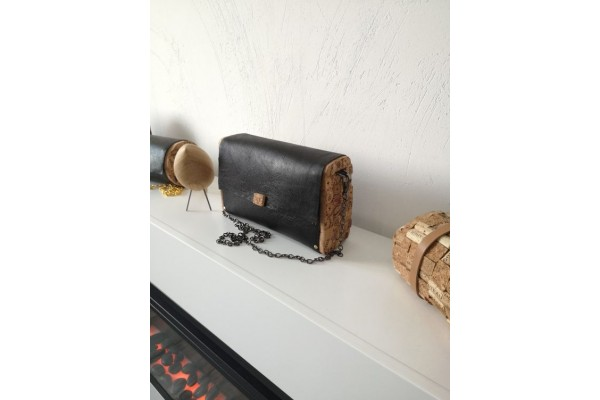 Leather bag, cork bag, non-industrial design, designer clutch, chain clutch