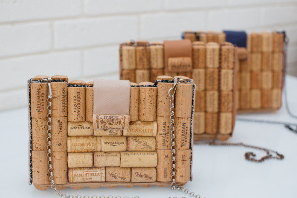 Cork clutch with chain over shoulder