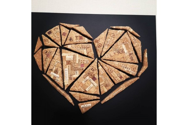Cork mosaic geometric heart