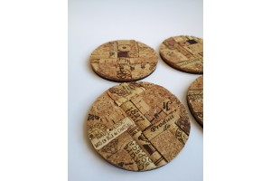 Round glass coasters 4 pcs.