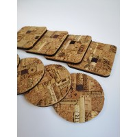 Original handmade coasters made of cork.