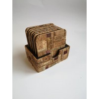 Kitchen-bar coasters made of wood and wine cork.